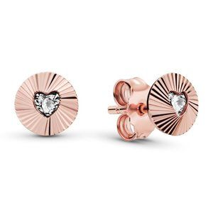 Pandora Round Heart Fan Stud Earrings